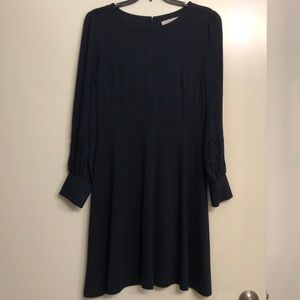 LOFT long sleeve navy blue dress
